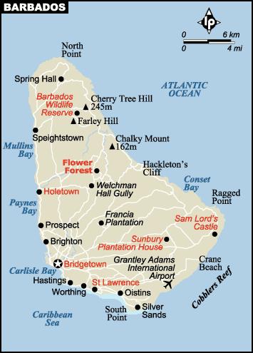 Printable Map of Barbados Island